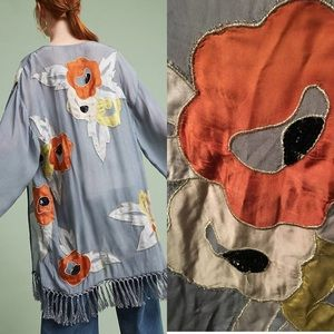 🌿 Stunning Anthropologie beaded fringe Kimono